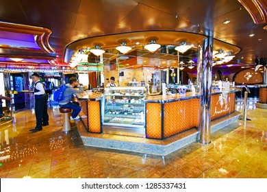 Kristiansand, Norway - July 19, 2017: Coffee bar aboard the cruise ship Costa Favolosa of the shipping company Costa Crociere