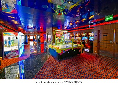 Kristiansand, Norway - July 19, 2017: Entertainment area aboard the cruise ship Costa Favolosa of the shipping company Costa Crociere