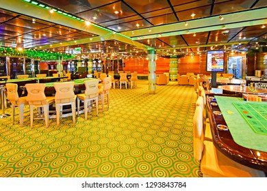 Kristiansand, Norway - July 19, 2017: - July 19, 2017: Casino area aboard the cruise ship Costa Favolosa of the shipping company Costa Crociere. Gambling is very popular on cruise ships.