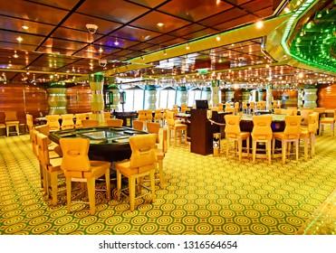 Kristiansand, Norway - July 19, 2017: - July 19, 2017: Casino area aboard the cruise ship Costa Favolosa of the shipping company Costa Crociere.