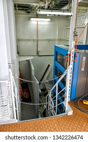 Kristiansand, Norway - July 19, 2017: - July 19, 2017: Folded tender boat platform with wheelchair lift on board the cruise ship Costa Favolosa of the shipping company Costa Crociere.