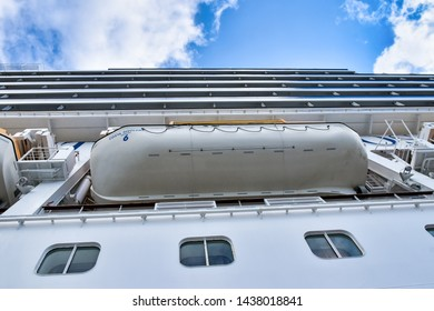 Kristiansand, Norway - July 19, 2017: Exterior view of the cruise ship Costa Favolosa of the shipping company Costa Cruises while berthing in the harbour of Kristiansand in Norway.