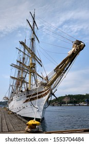 Kristiansand, Norway - June 30 2019: The ship Sørlandet docks in the harbour. It's built in 1927 and one of very few full-rigged ships in the world. In 1958 she was equipped with an engine.
