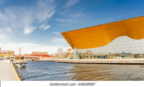 Kristiansand, Norway - June 4, 2015: Theater and concert hall on Odderoya in Kristiansand. It houses Agder Teater, Kristiansand Symphony Orchestra and Opera Sor