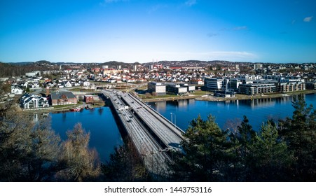 Kristiansand, Norway- may 2019: View of Oddernesbrua, the E18 bridge across the Otra river.