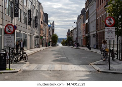 KRISTIANSAND, NORWAY - september 2018 quiet street Kristiansand, with historic old buildings . close-up