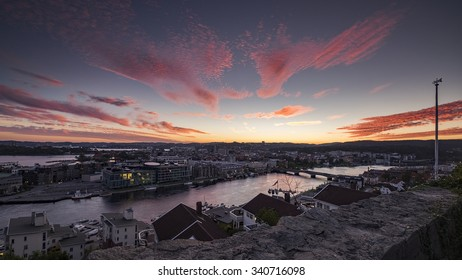 Kristiansand in Norway sunset with beautiful sky.