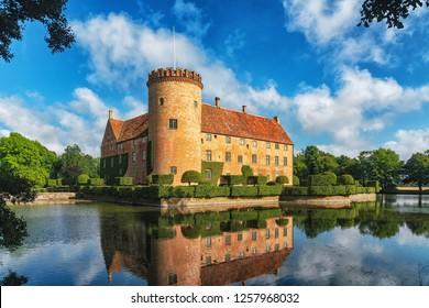 Kristianstad, Sweden - August, 2018: Vittskövle Castle in Kristianstad Municipality, Scania, in southern Sweden.