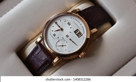 Kristianstad Sweden May 2019 - Picture of luxury 18ct gold watch from A. Lange & Söhne. Reference 191.032 Lange 1