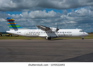 KRISTIANSTAD / SWEDEN - SEPTEMBER 2018 Braathens Regional Airways ATR-72-600 (72-212A) SE-MKI, cn 1379 departing for a flight to Stockholm Bromma.