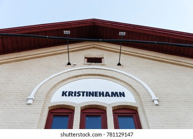 KRISTINEHAMN, SWEDEN - JULY 7, 2016: Kristinehamn railway station sign, Kristinehamn, Sweden