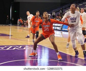 Krisynthia Sampson forward for the University of Texas Grande Valley Vaqueros at GCU Arena in Phoenix,AZ/USA January 12,2019.