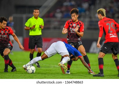 Kritsada Nontharat no.51(red)of Bangkok United in action during The Football Thai League between Bangkok United and SCG Muangthong United at True Stadium on March 02,2019 in Pathum Thani, Thailand