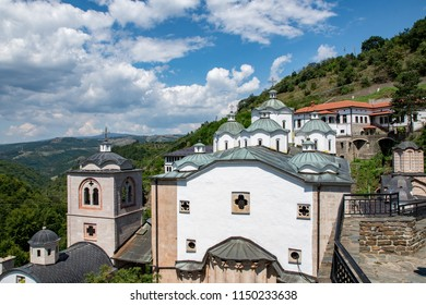 KRIVA PALANKA, MACEDONIA, 5 AUGUST 2018: Medieval building in Monastery St. Joachim of Osogovo, Kriva Palanka region, Republic of Macedonia