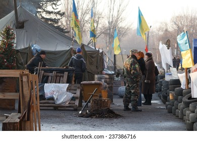KRIVOY ROG, UKRAINE - DEC 13 - People demand the resignation of the government of Krivoy Rog, living in tents in front of the city administration, Saturday 13 December 2014
