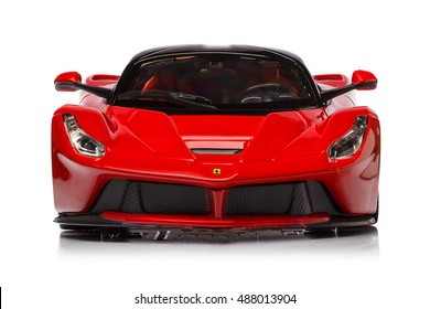KRIVOY ROG, UKRAINE - OCT 04 - Toy ferrari laferrari on background. Photo made in the studio, Sunday 04 October 2015