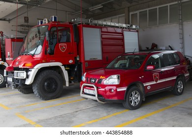 Krk, CROATIA - June 5: Fire Truck in Krk on June 05, 2016. Firefighters Engine Parked at Fire Station in Krk, Croatia