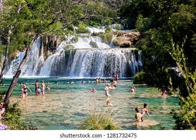 KRKA, CROATIA-JUNI 26, 2018:Krka National Park  is one of the Croatian national parks, named after the river Krka