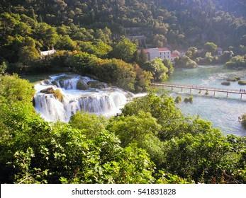 Krka National Park, waterfall Skradinski buk, Croatia.