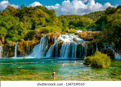 KRKA waterfalls Croatia September 2018, krka national park Croatia on a bright summer evening with people relaxing in the water