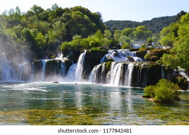 Krka Waterfalls Skradinski Buk at the National Park in Dalmatia, Croatia, Europe