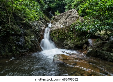 Krok-E-Dok waterfall and rain forest on mountain in Khao Yai National park, Thailand.