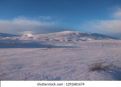 KROKSTRANDA, NORDLAND COUNTY / NORWAY - JANUARY 19 2019: Highland tundra in northern Scandinavia ath the middle of winter. Saltfjellet –Svartisen National Park