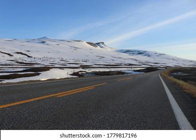 KROKSTRANDA, NORDLAND COUNTY / NORWAY - JUNE 26 2020. Norwegian highlands. E6 Norwegian road. Saltfjellet –Svartisen National Park