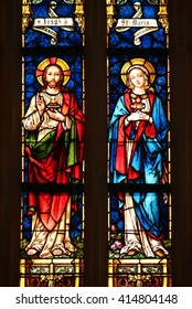 KROMERIZ, CZECH REPUBLIC - APRIL 29: Jesus and Maria - stained glass in St. Moritz church in town Kromeriz, Czech republic, on April 29, 2016.