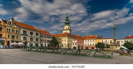 KROMERIZ, CZECH REPUBLIC - AUGUST 16, 2017: The central square of the city of Kromeriz and a view of the Episcopal Palace. Czech Republic