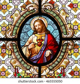 KROMERIZ, CZECH REPUBLIC - JULY 20: Most Sacred Heart of Jesus - Stained glass in Church of the Assumption in town Kromeriz, Czech republic, on July 20, 2016.