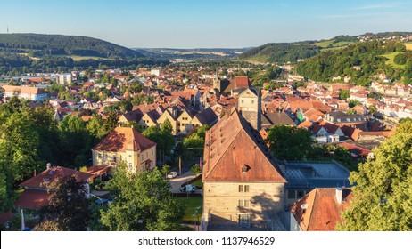 Kronach, Bavaria/Germany- July 19 2018: Medieval Historical Town in Franken in Summer