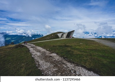 Kronplatz, Italy. August 2, 2017. Famous mountain and climbing museum by Reinhold Messner. Architecture by Zaha Hadid. Modern mountain architecture.