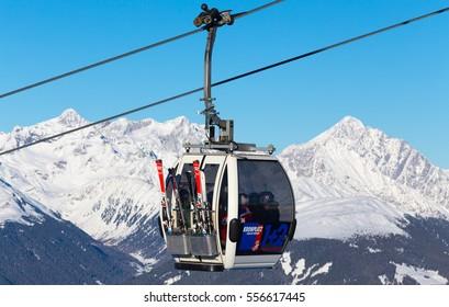 KRONPLATZ, ITALY - JANUARY 21, 2016: Cable car in the Dolomites, Italy - Plan de Corones - Ski resort Kronplatz (Dolomiti Superski)