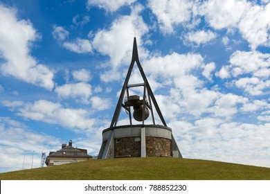 KRONPLATZ, ITALY - SEPTEMBER 2017 : Concordia 2000, peace bronze bell on mountain Bruneck in Kronplatz, South Tyrol, Italy on September 23, 2017. Cast on Kronplatz ski center's 25th anniversary