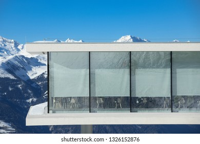 Kronplatz, South Tyrol, Italy - February 15, 2019: LUMEN and  AlpiNN restaurant at Kronplatz - Plan de Corones ski resort in the snowy Dolomites on beautiful sunny day