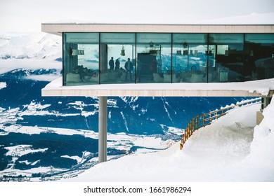 KRONPLATZ, SOUTH TYROL, ITALY - NOVEMBER 20, 2019: LUMEN - Museum of Mountain Photography at Kronplatz - ski resort in Italian Dolomites