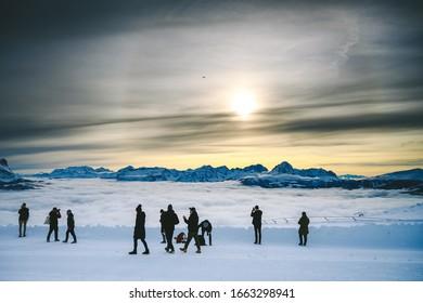 KRONPLATZ, SOUTH TYROL, ITALY - NOVEMBER 20, 2019: People walking on Kronplatz (2,275 metres) - ski resort in Italian Dolomites during sunny day