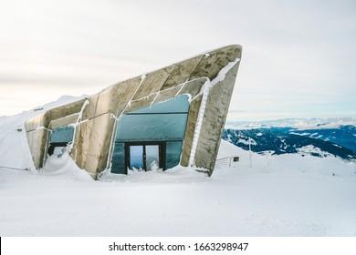KRONPLATZ, SOUTH TYROL, ITALY - NOVEMBER 20, 2019: Messner Mountain Museum (MMM Corones) at Kronplatz - ski resort in Italian Dolomites