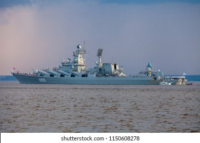 KRONSHTADT, RUSSIA - JULY 28, 2018. Day before the Day of the Russian Navy. Russian cruiser Marshal Ustinov - Slava-class cruiser of the Russian Navy