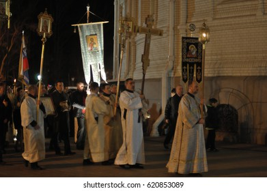 KRONSTADT, RUSSIA - APRIL 19, 2014: Night easter procession around the Naval Cathedral