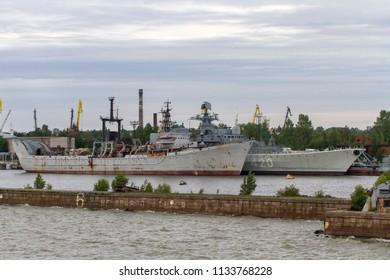 KRONSTADT, ST. PETERSBURG, RUSSIA - JULY 6, 2016: RFS 1967 KARPATY Rescue-raising Vessel (Project 530), moored at Kronstadt military seaport on Kotlin Island, off Saint Petersburg.