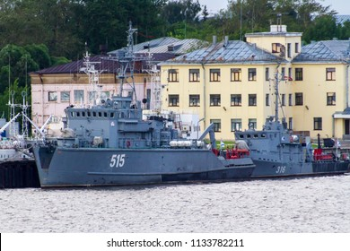 KRONSTADT, ST. PETERSBURG, RUSSIA - JULY 6, 2016: Sonya Class Minesweeper (Project 1265) BT-260 515 and Lida Cass Harbour Minesweeper (Project 10750) RT-57 316 berthed at Kronstadt military seaport.