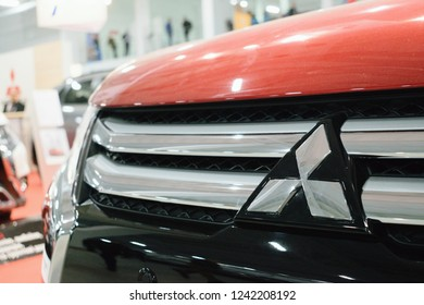 KROPIVNITSKIY, UKRAINE  – 27 September, 2018: New Mitsubishi Eclipse Cross sport compact car shown at the Motor Show. Red Mitsubishi Eclipse, compact crossover produced by Mitsubishi Motors