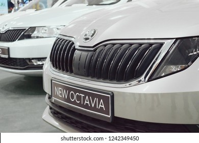 KROPIVNITSKIY, UKRAINE  – 27 September, 2018: Skoda new Octavia car at motor show,  Automobile Salon. Skoda is a Czech automobile manufacturer.