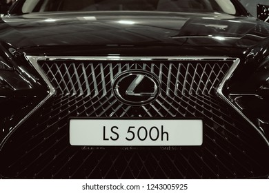 KROPIVNITSKIY, UKRAINE  – 27 September, 2018: Lexus new car at motor show, Automobile Salon. Lexus LS 500h  new flagship luxury sedan, selective focus