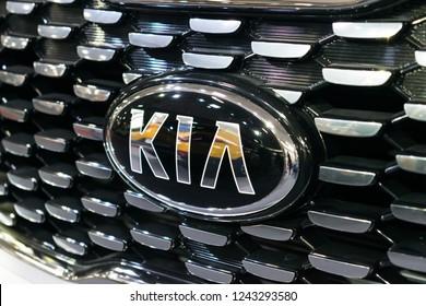 KROPIVNITSKIY, UKRAINE  – 27 September, 2018: Close up KIA logo. New KIA Sorento car details at motor show, Automobile Salon, selective focus