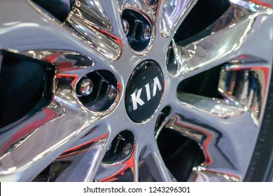 KROPIVNITSKIY, UKRAINE  – 27 September, 2018: Close up KIA logo on wheel rim. New KIA Sorento car details at motor show, Automobile Salon, selective focus