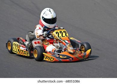 KRSKO, SLOVENIA - APRIL 17 : Karting race on Raceland track in Slovenia, driver unidentified, april 17, 2010 in Krsko, Slovenia