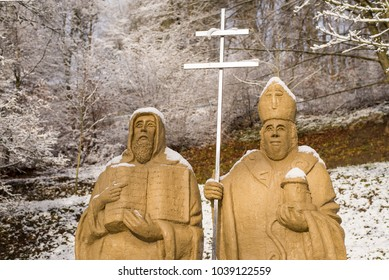 Krtiny, December 29th December 2017, Czech Rep. Saints Cyril and Methodius statues in castle garden. Apostles to the Slavs.